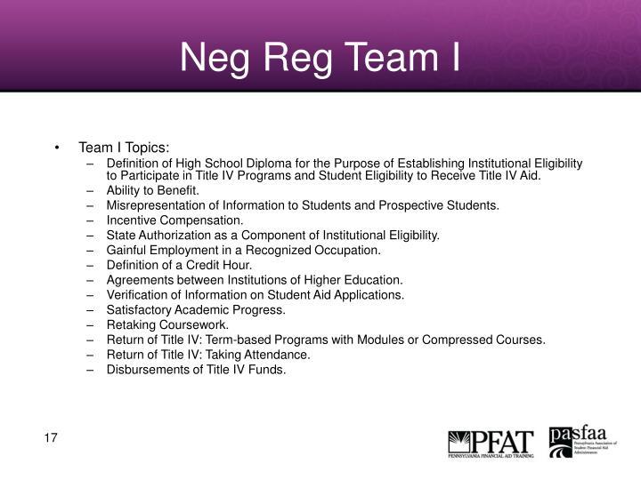 Neg Reg Team I