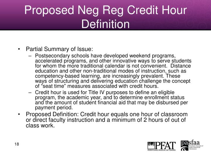 Proposed Neg Reg Credit Hour Definition