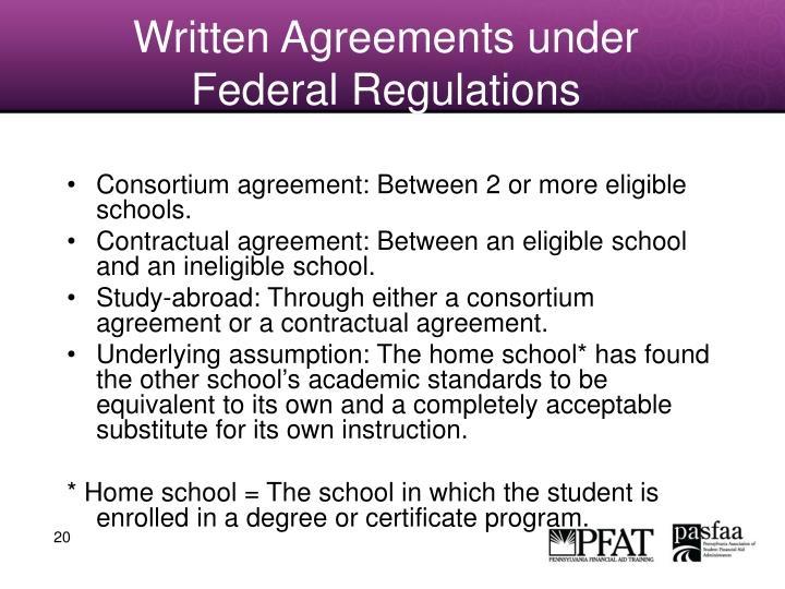 Written Agreements under Federal Regulations