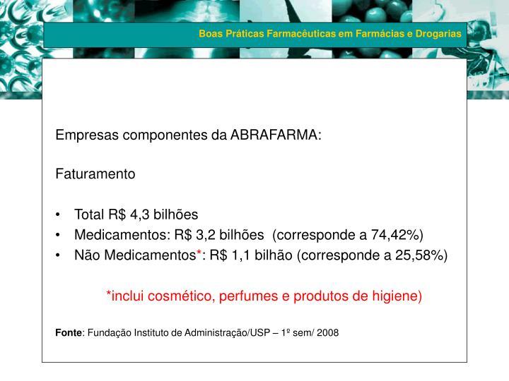 Empresas componentes da ABRAFARMA: