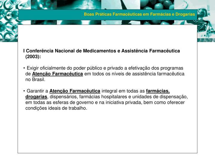 I Conferência Nacional de Medicamentos e Assistência Farmacêutica (2003):