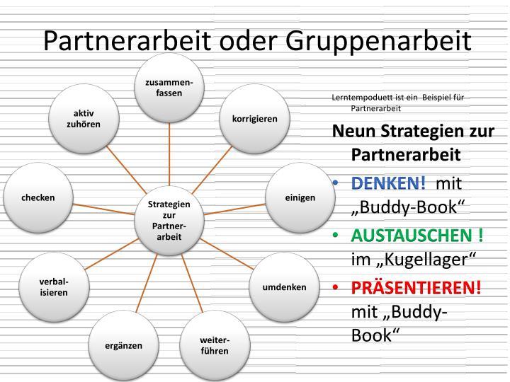 Partnerarbeit oder Gruppenarbeit