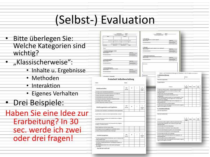 (Selbst-) Evaluation