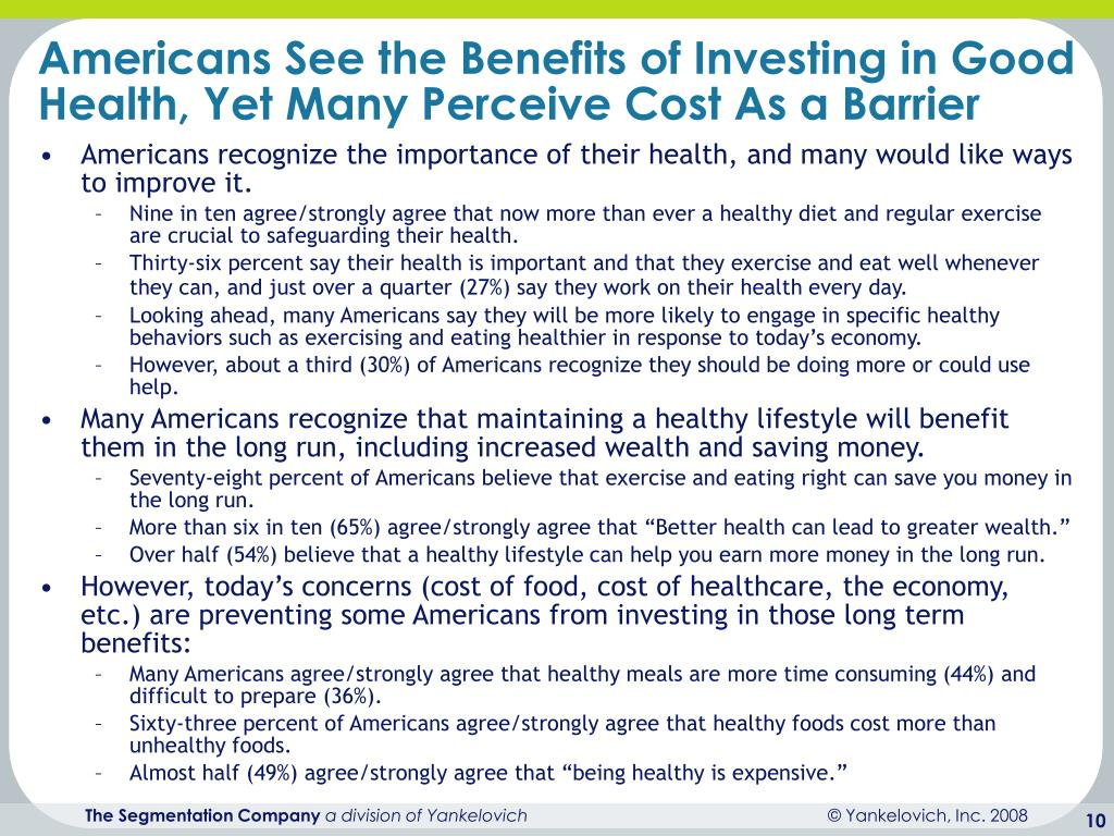 Americans See the Benefits of Investing in Good Health, Yet Many Perceive Cost As a Barrier