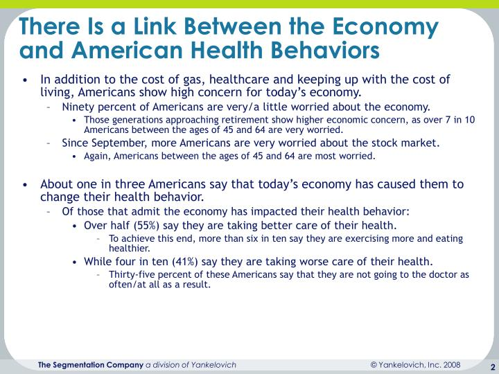 There is a link between the economy and american health behaviors