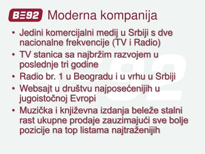 Jedini komercijalni medij u Srbiji s dve nacionalne frekvencije (TV i Radio)