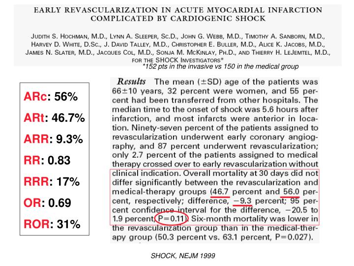 *152 pts in the invasive vs 150 in the medical group
