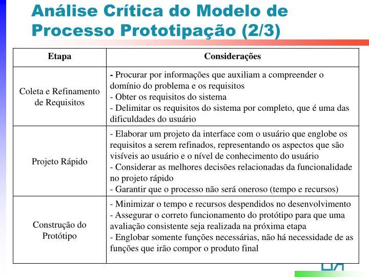 Análise Crítica do Modelo de Processo Prototipação (2/3)
