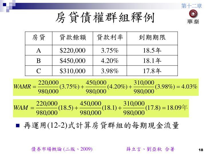 房貸債權群組釋例