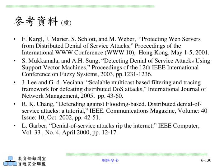 """F. Kargl, J. Marier, S. Schlott, and M. Weber,  """"Protecting Web Servers from Distributed Denial of Service Attacks,"""" Proceedings of the International WWW Conference (WWW 10),  Hong Kong, May 1-5, 2001."""