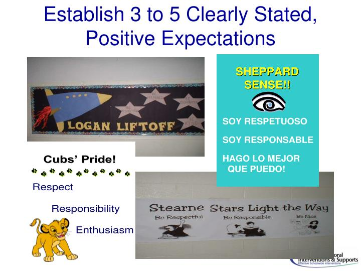 Establish 3 to 5 Clearly Stated, Positive Expectations