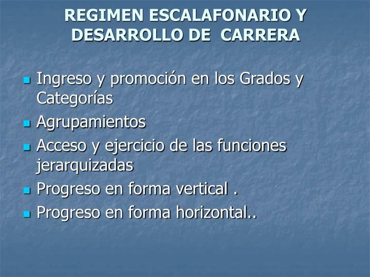 REGIMEN ESCALAFONARIO Y DESARROLLO DE  CARRERA