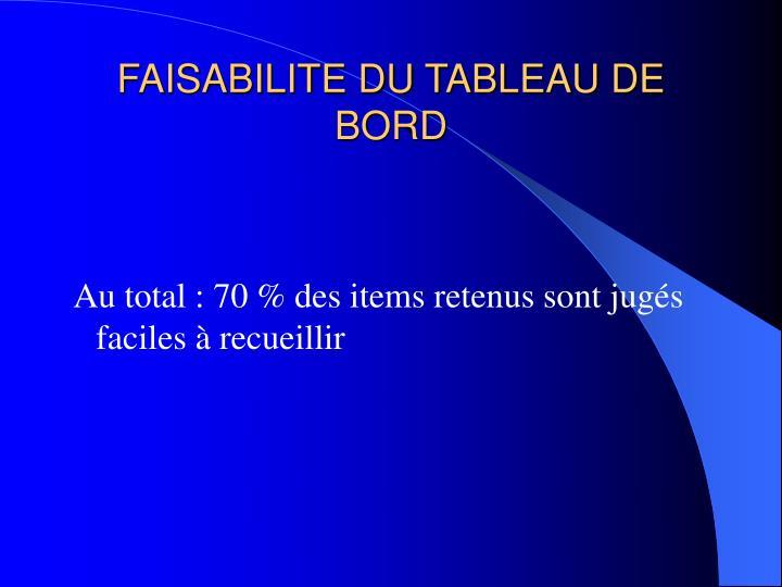 FAISABILITE DU TABLEAU DE BORD
