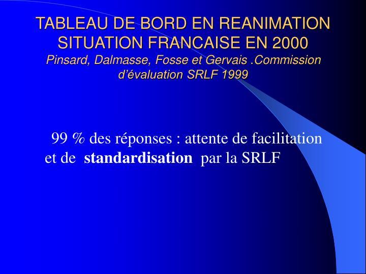 TABLEAU DE BORD EN REANIMATION