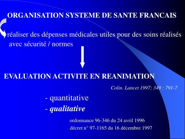 ORGANISATION SYSTEME DE SANTE FRANCAIS