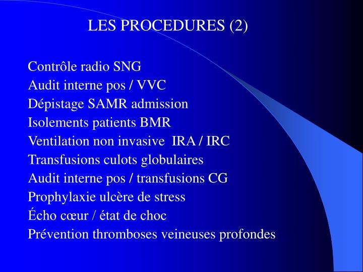 LES PROCEDURES (2)