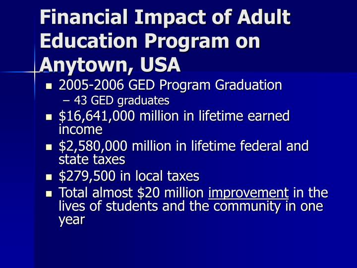 Financial Impact of Adult Education Program on Anytown, USA
