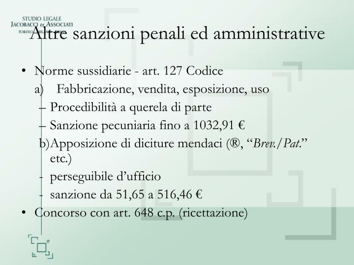 Altre sanzioni penali ed amministrative