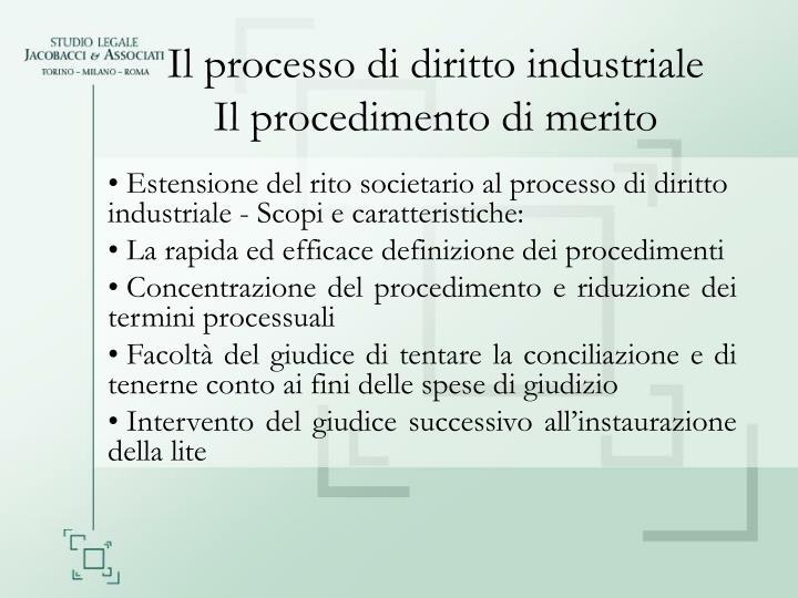 Il processo di diritto industriale