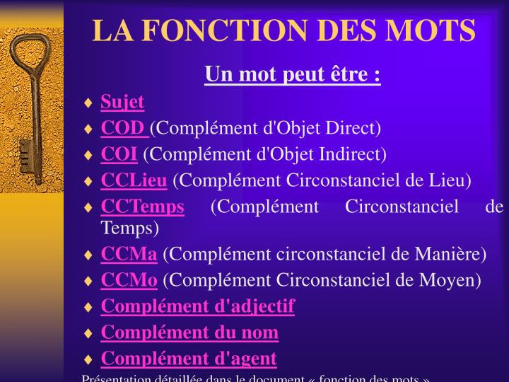 LA FONCTION DES MOTS