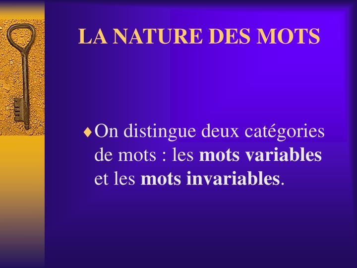 LA NATURE DES MOTS