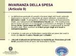 invarianza della spesa articolo 9