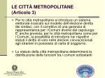 le citt metropolitane articolo 31