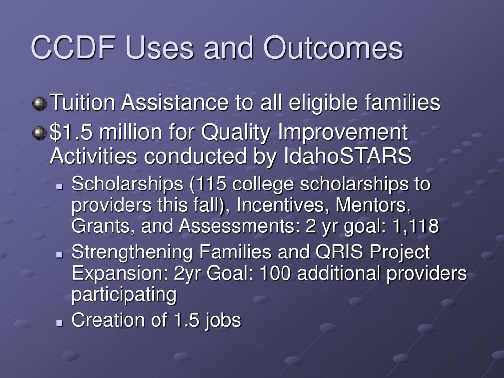 CCDF Uses and Outcomes