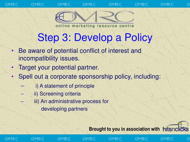 Step 3: Develop a Policy