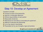 step 10 develop an agreement