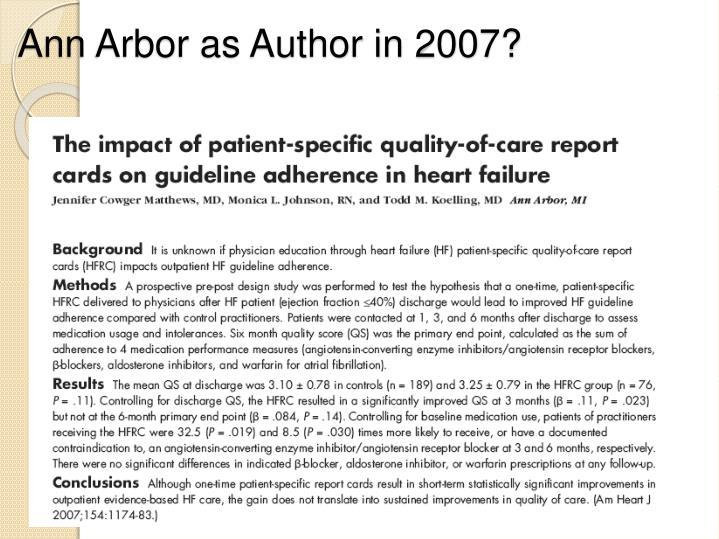 Ann Arbor as Author in 2007?