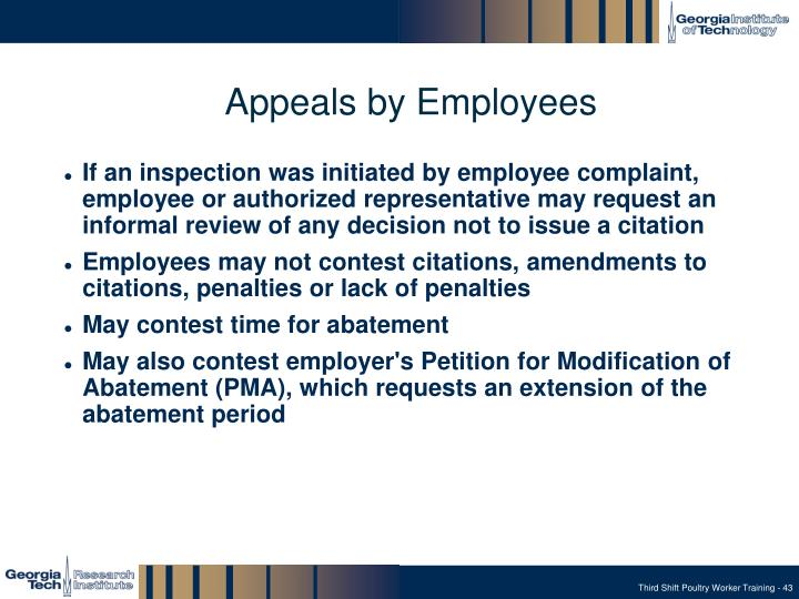 Appeals by Employees
