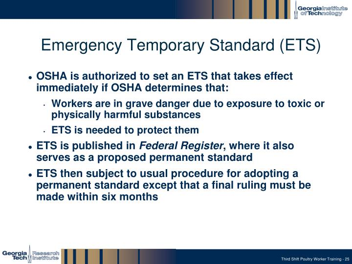 Emergency Temporary Standard (ETS)