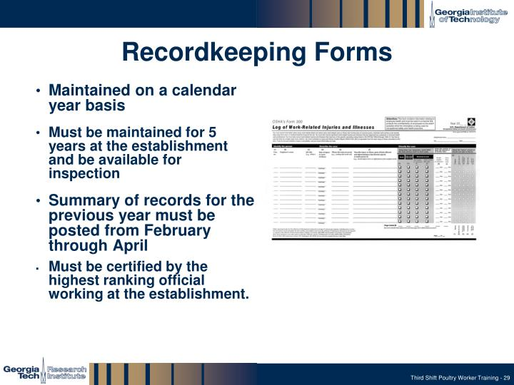 Recordkeeping Forms