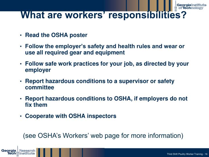What are workers' responsibilities?