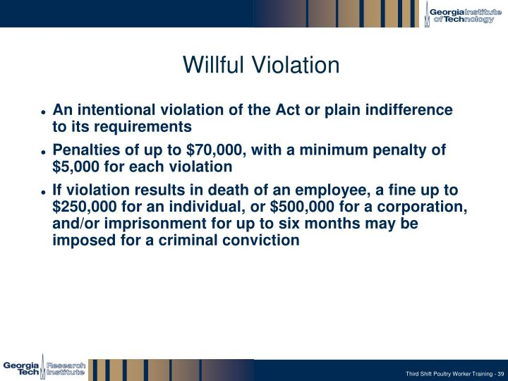 Willful Violation