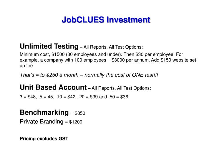 JobCLUES Investment