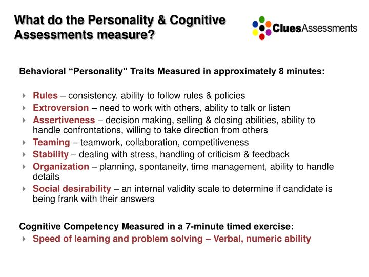 What do the Personality & Cognitive Assessments measure?