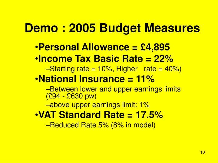 Demo : 2005 Budget Measures