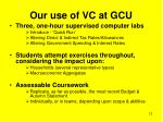our use of vc at gcu