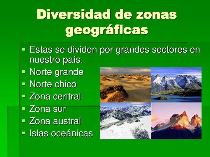 Diversidad de zonas geográficas