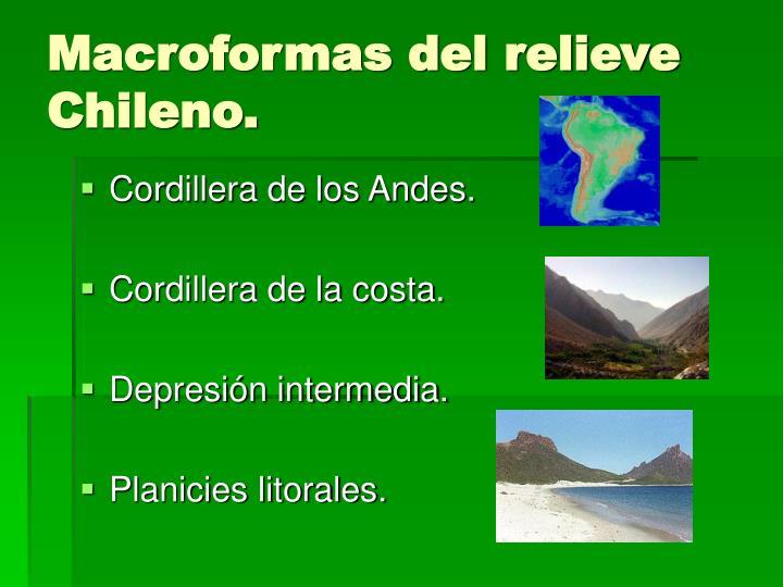 Macroformas del relieve Chileno.
