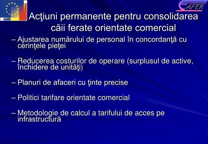 Acţiuni permanente pentru consolidarea căii ferate orientate comercial