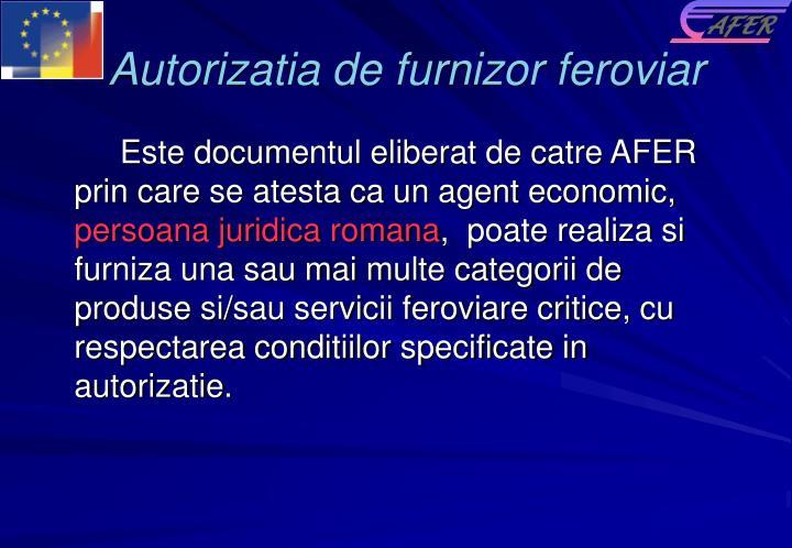 Autorizatia de furnizor feroviar