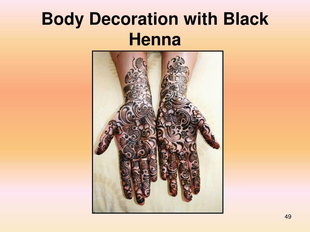 Body Decoration with Black Henna