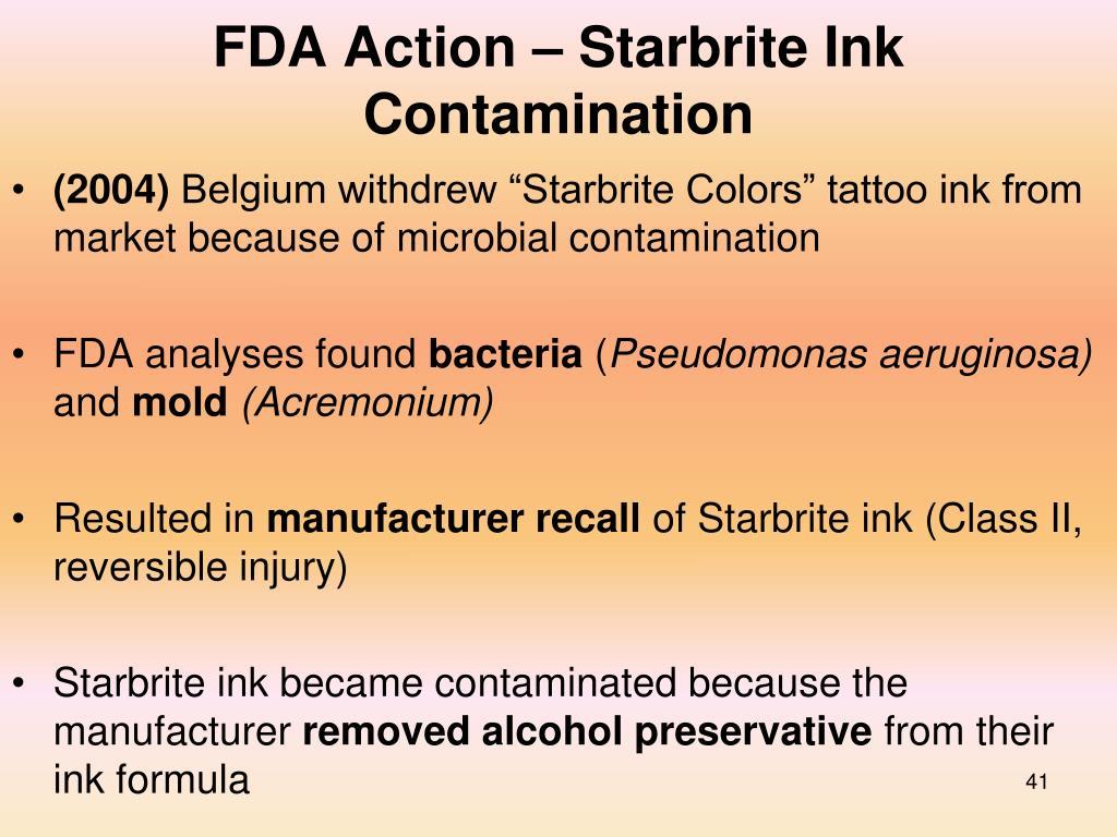 FDA Action – Starbrite Ink Contamination