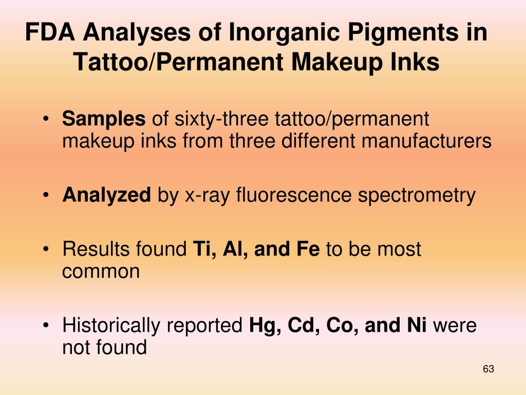FDA Analyses of Inorganic Pigments in Tattoo/Permanent Makeup Inks