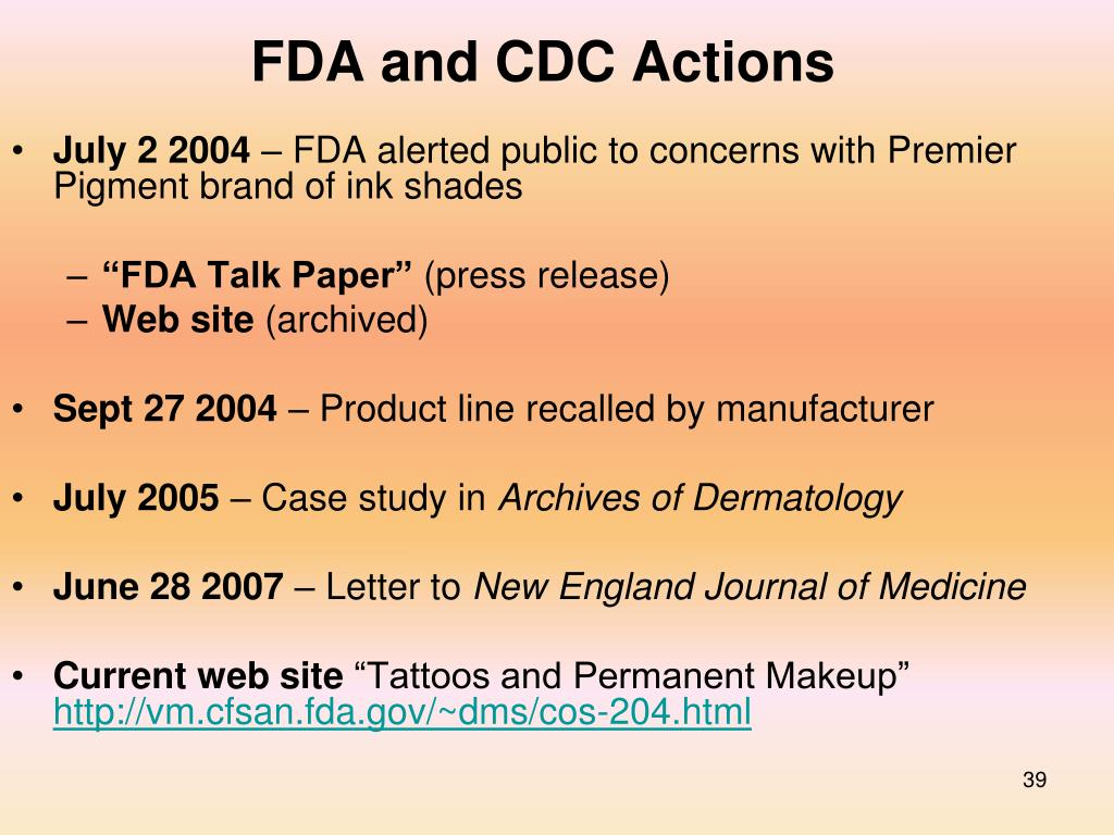 FDA and CDC Actions