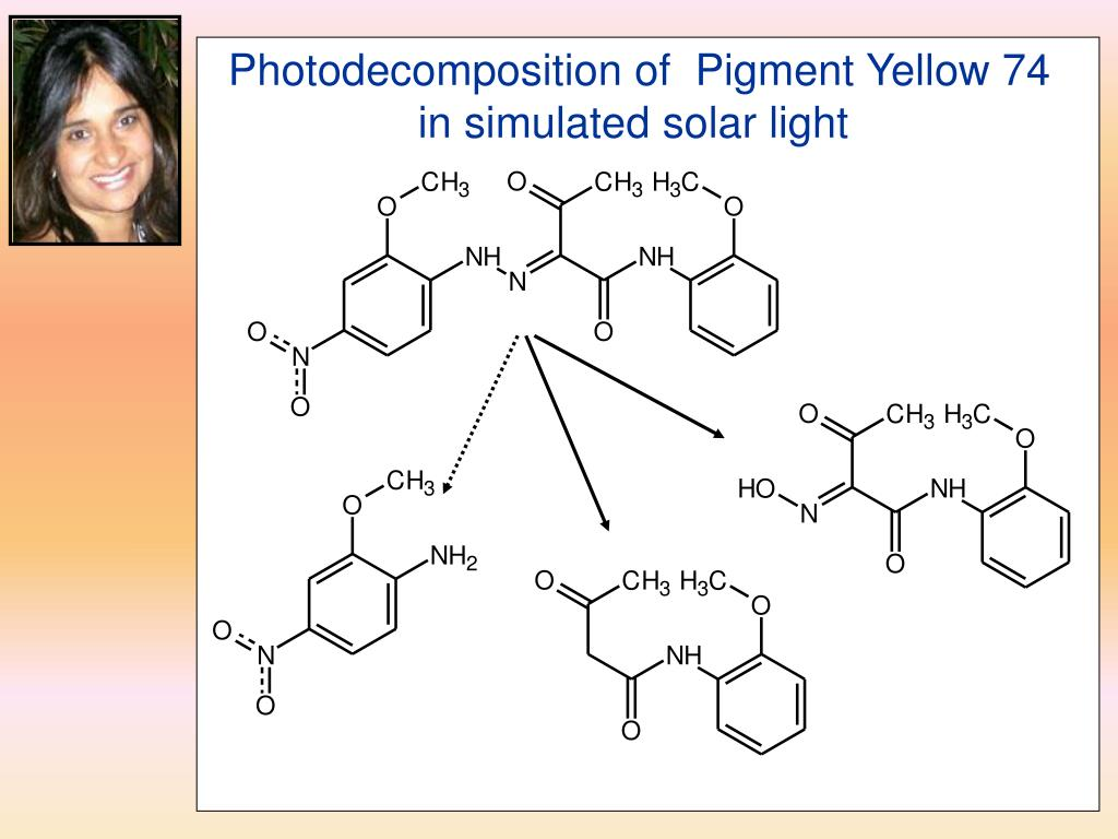 Photodecomposition of  Pigment Yellow 74 in simulated solar light