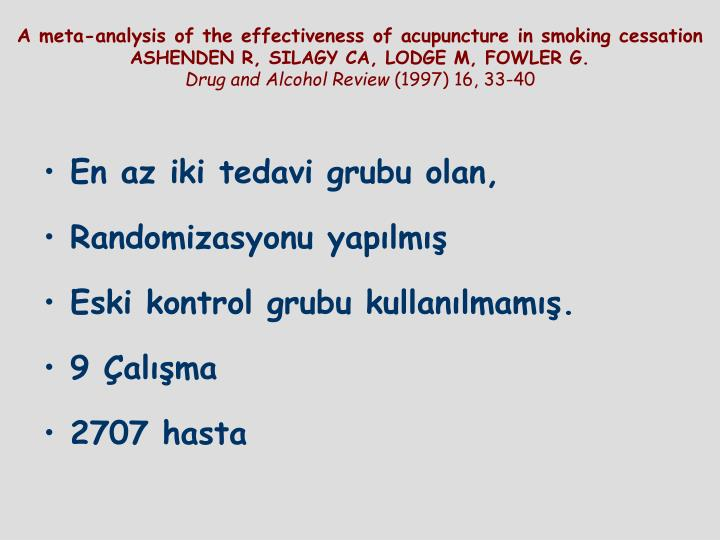 A meta-analysis of the effectiveness of acupuncture in smoking cessation
